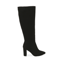 Stivali neri in microfibra, tacco 8,5 cm , Scarpe, 144972313MFNERO035, 001a