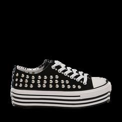 Sneakers nere in canvas con borchie, platform 4 cm, Scarpe, 132619223CANERO035, 001a