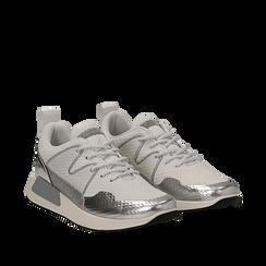Sneakers bianche in tessuto tecnico dettagli glitter, Scarpe, 132619190TSBIAN035, 002a