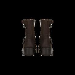 Biker marroni con gambale morbido e doppia cinghia, Scarpe, 12A702711MNMARR, 003 preview