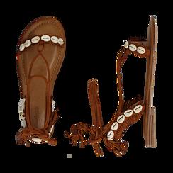 Sandali lace-up cuoio in microfibra con conchiglie, Scarpe, 154948229MFCUOI, 003 preview