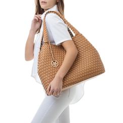Maxi-bag cuoio in eco-pelle intrecciata , Borse, 135786118EICUOIUNI, 002a