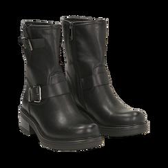 Biker boots con fibbie neri in eco-pelle, tacco 4,5 cm , Stivaletti, 14A702711EPNERO035, 002 preview