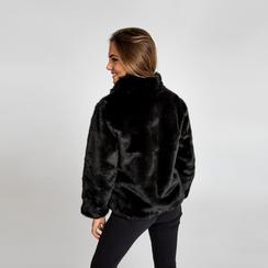 Pelliccia nera corta eco-fur, manica lunga, Saldi, 12B432301FUNERO, 003 preview
