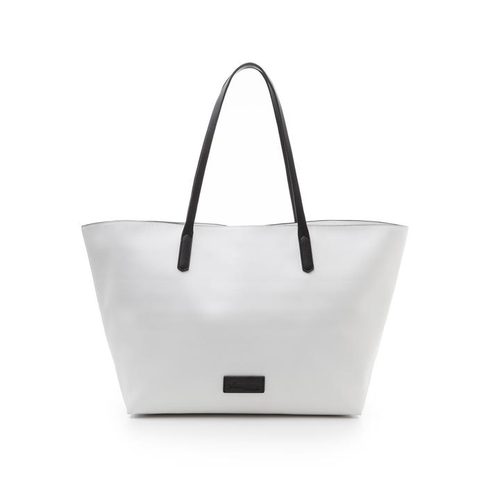 Maxi-bag bianca in eco-pelle con manici neri, Borse, 133783134EPBIANUNI