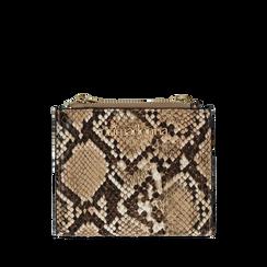 31d6b4e53a Portafogli quadrato beige in eco-pelle effetto snake skin, Borse,  132300001PTBEIGUNI, ...