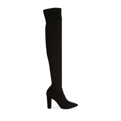 Overknee a punta neri in microfibra, tacco 10 cm , Stivali, 142172635MFNERO035, 001a