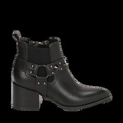 Camperos neri in eco-pelle con borchie, tacco 6,5 cm , Stivaletti, 143020502EPNERO035, 001a
