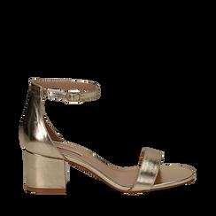 Sandali oro in laminato, tacco 5,50 cm , Primadonna, 132707031LMOROG035, 001a