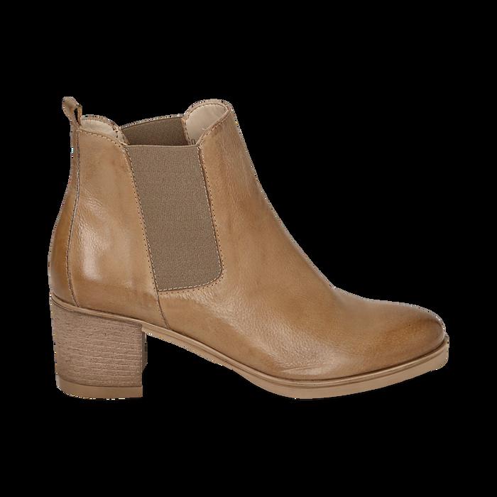 Chelsea boots cuoio in pelle, tacco 6 cm, Mid Season Sale, 157711439PECUOI035