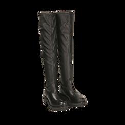 Stivali overknee flat neri in pelle di vitello , Scarpe, 149205004VINERO035, 002a