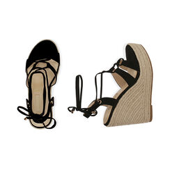 Sandali neri in microfibra, zeppa 12 cm , Primadonna, 172108242MFNERO035, 003 preview