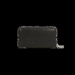 Portafoglio nero in ecopelle  con 14 vani, Saldi, 122200896EPNEROUNI, 002