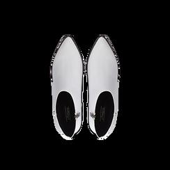 Tronchetti bianchi con zip, tacco medio 4,5 cm, Scarpe, 122752721EPBIAN, 004 preview