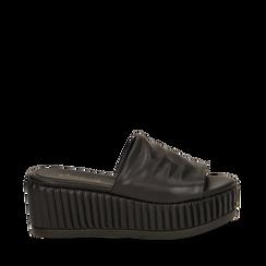 Zeppe platform nere in eco-pelle, zeppa 7 cm, Primadonna, 132147652EPNERO037, 001a