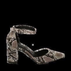 Décolleté blanc/noir imprimé python, talon 8 cm , Primadonna, 164942312PTBINE035, 001a