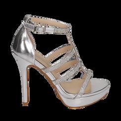 Sandali argento in eco-pelle laminata, tacco 12,50 cm, Scarpe, 152150112LMARGE035, 001a