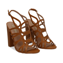 Sandali cage cuoio in eco-pelle, tacco 10,50 cm,