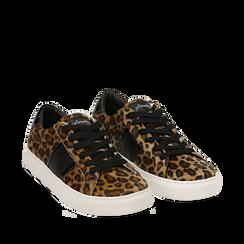 Sneakers leopard marroni in eco-pelle, Scarpe, 142619071CVLEMA036, 002a