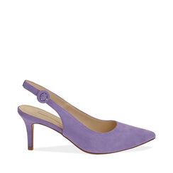 Slingback lila de microfibra, tacón 7 cm, Zapatos, 172133673MFLILL038, 001a