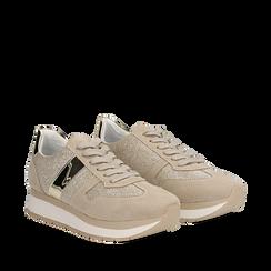 Sneaker beige in microfibra con dettaglio mirror, Scarpe, 132899622MFBEIG037, 002a