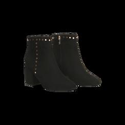 Tronchetti neri con profili decorati, tacco 7,5 cm, Scarpe, 122181619MFNERO, 002 preview