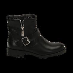 Biker boots neri in eco-pelle con gambale traforato estensibile, tacco 3 cm, Scarpe, 130619015EPNERO, 001 preview