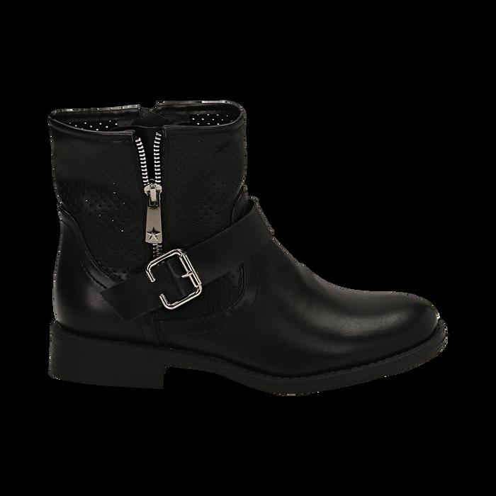 Biker boots neri in eco-pelle con gambale traforato estensibile, tacco 3 cm, Scarpe, 130619015EPNERO