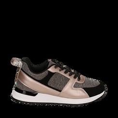Sneakers oro rosa glitter con dettagli in eco-pelle, Scarpe, 14D814301GLRAOR035, 001a