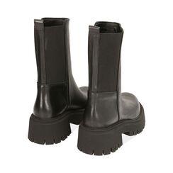 Ankle boots neri in pelle, tacco 5,5 cm , Primadonna, 187204401PENERO035, 004 preview
