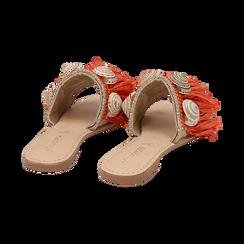 Ciabatte arancio in rafia con conchiglie, Chaussures, 15K904426RFARAN036, 004 preview