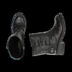 Biker boots neri in pelle, tacco 4 cm , Stivaletti, 147718214PENERO036, 003 preview