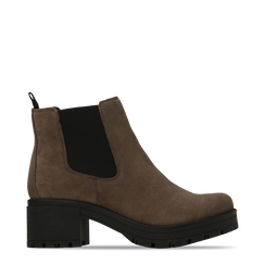 Chelsea Boots taupe in vero camoscio, tacco medio 5,5 cm, 127723509CMTAUP036, 001a