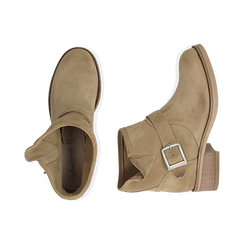 Bottines Biker taupe en nubuck, Chaussures, 157782014CMTAUP039, 003 preview