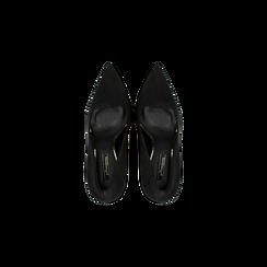 Décolleté nere con punta affusolata, tacco stiletto 7,5 cm, Scarpe, 122182083MFNERO, 004 preview