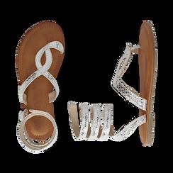 Sandali infradito argento stampa vipera, Scarpe, 154921381EVARGE036, 003 preview