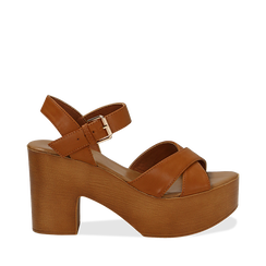 Sandali cuoio in eco-pelle, tacco 9 cm , Primadonna, 134987035EPCUOI035, 001a
