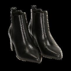 Ankle boots neri stampa vipera, tacco 6 cm , Primadonna, 164931531EVNERO036, 002a