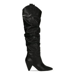 Stivali sopra il ginocchio neri, tacco cono 8 cm, Scarpe, 124995700EPNERO036, 001a