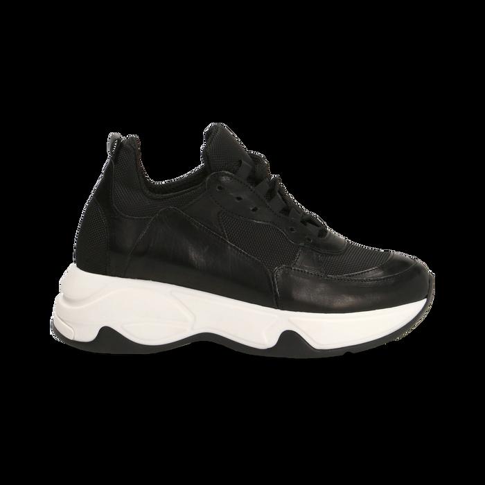 """Sneakers nere con zeppa effetto """"wave"""", Primadonna, 12A600999PENERO"""