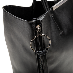 Borsa shopper nera in ecopelle con doppia zip anteriore, Borse, 122300304EPNEROUNI, 004 preview