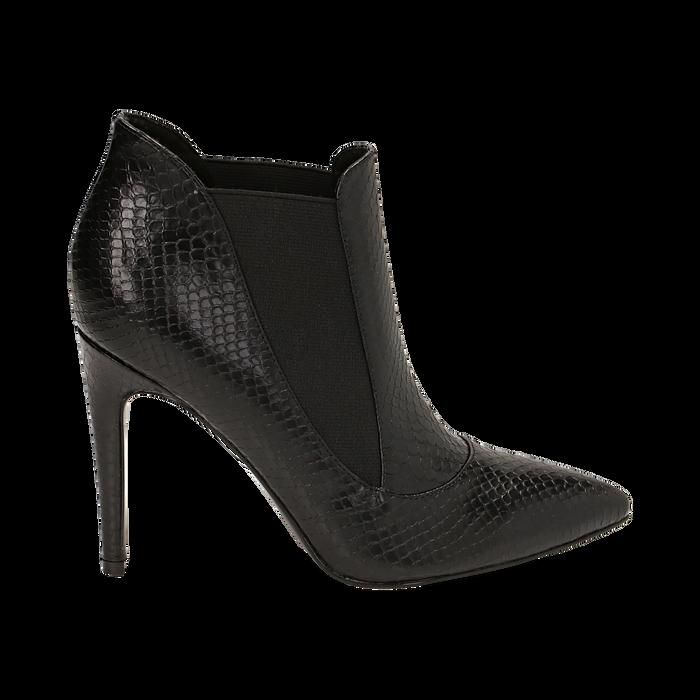 Ankle boots neri stampa vipera, tacco 10,50 cm , Primadonna, 162123741EVNERO035