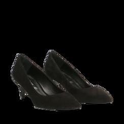 Décolleté nere Kitten heels in vero camoscio, tacco 3 cm, Primadonna, 12D617210CMNERO037, 002a