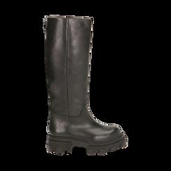 Stivali chunky neri in pelle di vitello, tacco 4 cm, Primadonna, 16A500050VINERO035, 001 preview