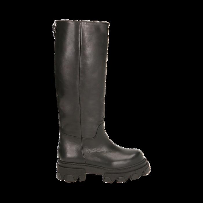 Stivali chunky neri in pelle di vitello, tacco 4 cm, Primadonna, 16A500050VINERO035