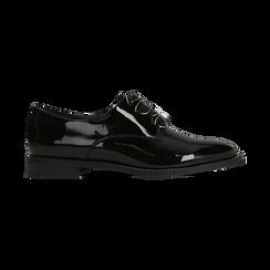 Stringate derby vernice nera tacco basso, Scarpe, 120618121VENERO, 001 preview