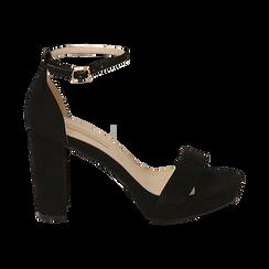 Sandalias en microfibra color negro, tacón 9,5 cm  , OPORTUNIDADES, 152185825MFNERO040, 001 preview