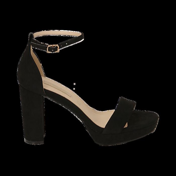Sandalias en microfibra color negro, tacón 9,5 cm  , OPORTUNIDADES, 152185825MFNERO040