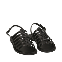 Sandali neri in pelle, Primadonna, 156707601PENERO036, 002a