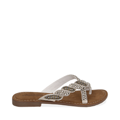 Ciabatte bianche in raso con pietre, Chaussures, 15K808061RSBIAN035, 001a